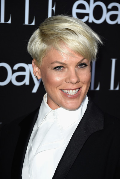 Pink Boy Cut [hair,facial expression,blond,human hair color,beauty,hairstyle,smile,chin,long hair,hair coloring,elle women in music celebration,arrivals,ebayat boulevard3,singer pink,california,hollywood,ebay]
