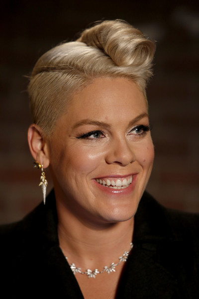Pink Fauxhawk [hair,face,hairstyle,eyebrow,blond,chin,forehead,beauty,lip,ear,jimmy kimmel live,season,jimmy kimmel,guest host,guests,guest hosts,guest,p nk,panelist,abc]