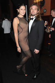 Stella Schnable wore an unusual net dress at the gala and launch dinner of the Pirelli Calendar.