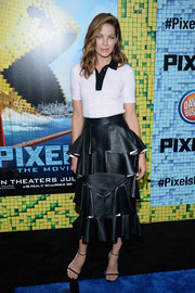 Michelle Monaghan kept it laid-back up top in a monochrome polo shirt by Erdem at the New York premiere of 'Pixels.'