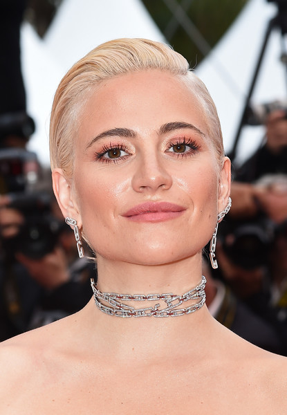 Pixie Lott Chignon [hair,face,eyebrow,hairstyle,lip,chin,skin,beauty,blond,fashion,pixie lott,screening,le belle epoque,la belle epoque,cannes,france,red carpet,the 72nd annual cannes film festival]
