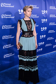 Scarlett Johansson was bohemian-glam in a blue and black lace-panel gown by Elie Saab at the Planned Parenthood 100th anniversary gala.