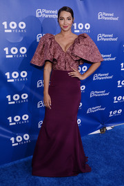 Jackie Cruz went extra glam in a dual-textured Christian Siriano gown with voluminous sleeves at the Planned Parenthood 100th anniversary gala.