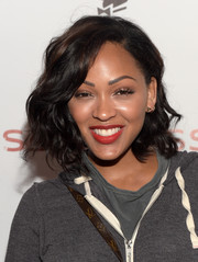 Meagan Good was stylishly coiffed with this short curly 'do at the Self/less party.