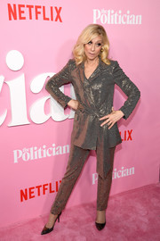 Judith Light glittered in a metallic pantsuit by Badgley Mischka at the premiere of 'The Politician' season 1.
