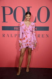 Danielle Herrington looked ultra girly in a floral wrap dress by Cynthia Rowley at the Polo Red Rush launch.