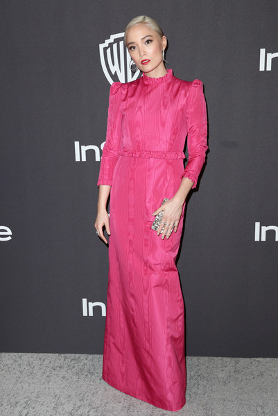 Pom Klementieff Evening Dress [clothing,pink,dress,magenta,fashion model,fashion,neck,formal wear,sleeve,fashion design,pom klementieff,beverly hills,california,the beverly hilton hotel,instyle,golden globes,warner bros.,arrivals,party]