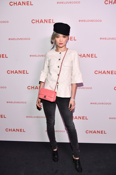 Pom Klementieff Skinny Jeans [chanel party,@welovecoco,pom klementieff,clothing,red,fashion,outerwear,pink,footwear,blazer,street fashion,joint,jacket,chanel beauty house,california,los angeles]