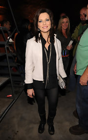 Martina McBride showed off her tough chic side in au courant motorcycle boots paired with a leather jacket.