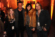 Karen Fairchild cozied up in luxurious style with a fur jacket at the Tennessee White Whiskey launch party.