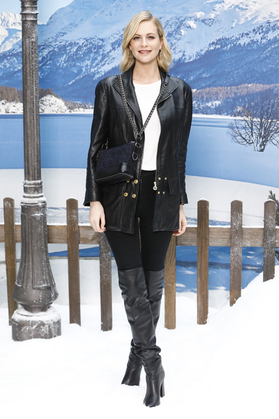Poppy Delevingne Over the Knee Boots [show,clothing,footwear,jeans,fashion,outerwear,standing,winter,jacket,leather,leg,poppy delevingne,part,paris,france,chanel,photocall- paris fashion week womenswear fall]
