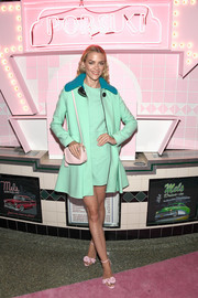 Jaime King was retro-chic at the launch of Pop & Suki wearing this Victoria Beckham swing jacket, in mint green with a contrasting teal collar.