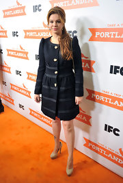 Amber Tamblyn topped off her ladylike style with cream platform pumps.