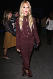 Rachel Zoe looked tres chic in a fringed wine-colored suede skirt suit at the Lexus Design Disrupted event.