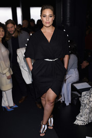 Ashley Graham completed her black-and-white look with a pair of pleated T-strap sandals by Olgana Paris.