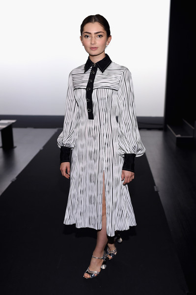 Emily Robinson went for a black-and-white striped shirtdress by Prabal Gurung when she attended the label's fashion show.
