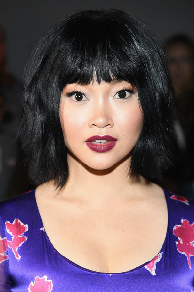 More Pics of Lana Condor Berry Lipstick (1 of 10) - Makeup Lookbook - StyleBistro [shows,the shows,hair,face,hairstyle,bangs,lip,black hair,eyebrow,chin,bob cut,beauty,prabal gurung,lana condor,front row,front row,gallery i,new york city,spring studios,new york fashion week,lana condor,to all the boys ive loved before,fashion,new york fashion week,actor,hairstyle,bangs,photograph,celebrity]