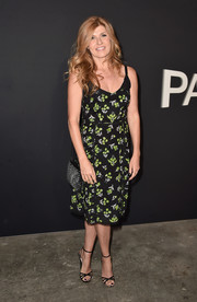 Connie Britton kept it breezy in a spaghetti-strap print dress by Prada at the LA premiere of 'Past Forward.'
