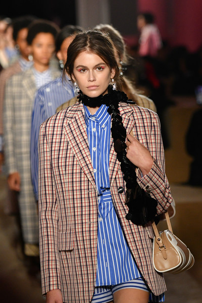 More Pics of Kaia Gerber Blazer (1 of 5) - Kaia Gerber Lookbook - StyleBistro [kaia jordan gerber,fashion model,fashion show,fashion,clothing,runway,street fashion,beauty,tartan,plaid,fashion design,prada resort 2020 collection - runway,runway,new york city,prada resort 2020 collection]