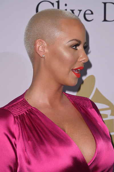 Amber Rose made an appearance at the pre-Grammy gala wearing her signature buzzcut.