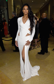 Ciara oozed major sex appeal at the pre-Grammy gala in a white-hot Alexandre Vauthier Couture gown featuring a thigh-high slit and multiple cutouts.