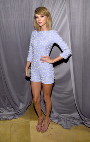 Taylor Swift was a cutie at the pre-Grammy gala in a pastel-blue Osman romper adorned all over with clusters of pearls.