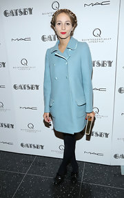 Harley Viera-Newton chose a powder blue wool coat for a classic and sophisticated evening look at the NYC screening of 'The Great Gatsby.'