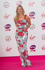 Heidi Range looked very ladylike at the pre-Wimbledon party in a colorful floral evening dress.