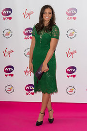 Laura Robson looked very dainty at the pre-Wimbledon party in a green lace cocktail dress.
