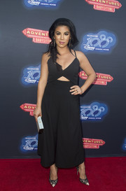 Chrissie Fit polished off her look with a pair of monochrome pumps.