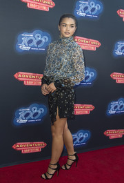 Paris Berelc finished off her red carpet attire with a pair of multi-strap sandals by Topshop.