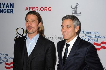 "Brad Pitt George Clooney Premiere Of ""8"" At The Wilshire Ebell Theatre - Arrivals"