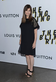 Jeanne Tripplehorn chose a loose-fit shift dress with lace sleeves for her look at 'The Bling Ring' premiere.