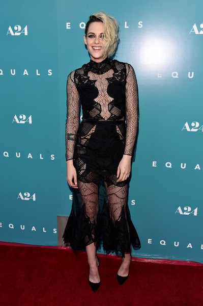 Kristen Stewart was sexy-goth in a sheer black dress by Jonathan Simkhai at the premiere of 'Equals.'