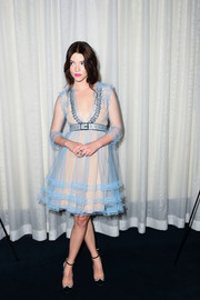 Anya Taylor-Joy paired her frock with embellished black pumps.