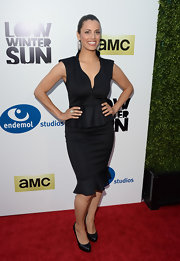 Athena's fitted LBD featured a cool flared skirt and peplum waist.