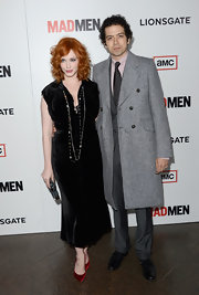 Geoffrey Arend chose a classic wool coat for his red carpet appearance at the 'Mad Men' Season 6 screening.