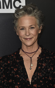 Melissa McBride was rocker-chic with her messy cut at the premiere of 'The Walking Dead' season 9.