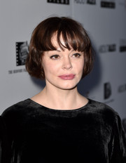 Rose McGowan surprised everyone with a new short hairstyle with wispy bangs at the premiere of 'About Alex.'