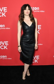Kathryn Hahn looked fierce in a fitted black leather dress at the premiere of 'I Love Dick.'
