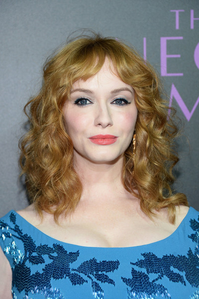 Christina Hendricks wore her hair in lush curls with parted bangs at the 'Neon Demon' premiere.