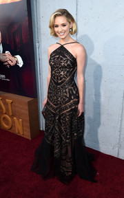 Greer Grammer looked sophisticated in a black lace halter gown by Tadashi Shoji at the premiere of 'The Last Tycoon.'