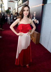 Lily Collins looked sweet and sexy at once in a layered red tube top by Reem Acra at the premiere of 'The Last Tycoon.'