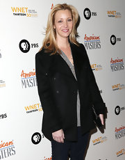 Lisa Kudrow topped off her attire with a classic black pea coat at the 'American Masters Inventing David Geffen' premiere.