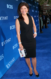 Julie Chen chose a simple V-neck LBD for the premiere of 'Extant.'