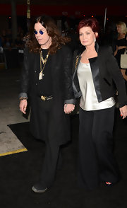Sharon Osbourne wore a satin-collared blazer and a pair of wide-leg pants at the premiere of 'Seven Psychopaths.'