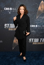 Michelle Yeoh donned a black peplum pantsuit for the premiere of 'Star Trek: Discovery.'