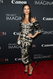 Georgina Chapman looked gorgeous at the Project Imaginat10n Film Festival in a floral-appliqued off-the-shoulder dress.