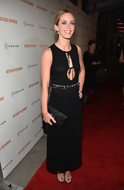 Emily Blunt chose a column-style dress with a lace-up bust and a jeweled belt.
