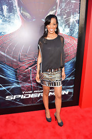 Shaun Robinson donned this faux two-piece cocktail dress with a beaded skirt to the 'Spider-Man' premiere.